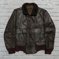 Vintage Star Sportswear G-1 Leather Flight Jacket Coat Navy USN