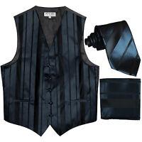 New Men's vertical stripes Tuxedo Vest Waistcoat_tie & hankie navy blue formal