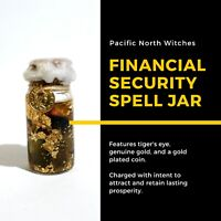 FINANCIAL SECURITY Tiger's Eye/Gold Spell Jar Witchcraft Money Prosperity Luck S