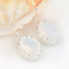 Hot Sale Oval Cut Rainbow Fire Moonstone Gemstone Silver Dangle Hook Earrings
