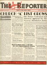 "1934 RARE HOLLYWOOD REPORTER ""CHURCH 'A' LIST GROWS"" ISSUE"
