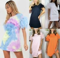 Women's Ladies Tulle Frill Ruffle Mesh Puff Short Sleeve T-Shirt Mini Dress Top