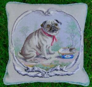 VTG 16X16 Handmade Needlepoint Petit Point Pug Dog Pillow Down Insert Velvet #3