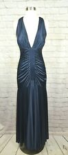 Cache NEW 8 Midnight Blue Ruched Halter Twist Back Long Goddess Dress