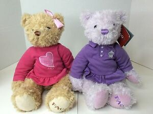 FAO Schwarz Teddy Bears Plush Stuffed Animal LOT Polo Shirts Pink Purple Dress