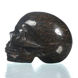 "1.97""Natural  Shimmering Bronze Carved Skull Metaphysic Healing Power #33J77"