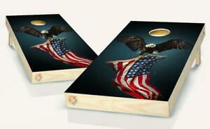 American Flag Eagle Cornhole Board Vinyl Wrap Laminated Sticker Set Decal