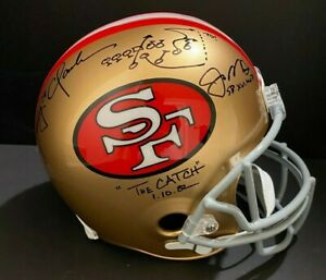 Joe Montana & Dwight Clark Signed 49ers FS Replica Helmet W/Inscrip COA