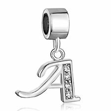 F/Pandora Silver Authentic Jewelry Letter A Alphabet Charm Beads Dangle Bracelet