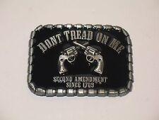 Black Gadsden Don't Tread on me belt buckle 2 pistols Second Amendment 1789