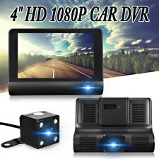 HD 1080P 4'' Car DVR Dual Lens Rearview Dash Cam Video Recorder Camera G-sensor