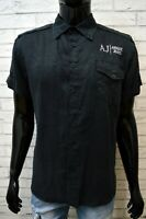ARMANI JEANS Blu Camicia in Lino Uomo Taglia M Camicetta Polo T-Shirt Men's Hemd