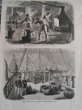 Gravure 1869 - Cable Transatlantique Forge sur le pont du Great-Eastern