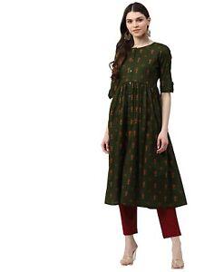 Indian Women Green & Coral Ethnic Motifs Printed A-Line Kurta Kurti Ethnic dress