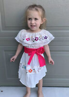 Girls Dress Beige with Sash Multicoloured Embroidered Flowers SZ 2-5T