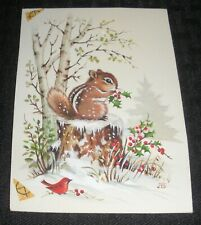"CHRISTMAS Chipmunk & Cardinal Eating Holly Berries 4x5"" Greeting Card Art #300-5"