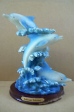 """Goldenvale Collections Figurine 3 Jumping Dolphin in Waves Ocean Scenes 8"""" Tall"""