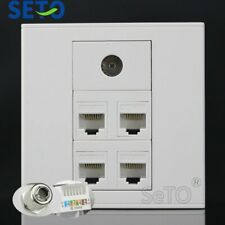 86Type Four Ports RJ45 Cat5e Network Lan+TV Wall Plate Socket Keystone Faceplate