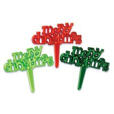 Merry Christmas Pearlized Cupcake & Cake Picks - 24 Count