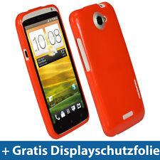 Rot Glänzend Tasche für HTC One X + Plus S720e Android Gel TPU Hülle Etui Eins 1