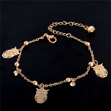 Barefoot Sandal Beach Rose Gold Plated Hollow Owl Charm Anklet&Bracelet Jewelry