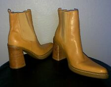 MIA Boots Block Heel * SEXY Ankle Boots *  Pointy Toe TAN LEATHER sz 8