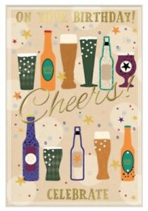 Open Male Birthday Card~ Happy Birthday  ~ Cheers to you By Greetings ~ Free P&P