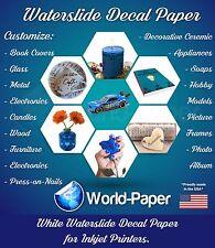 """WHITE INKJET Waterslide Decal Paper, 8.5"""" x 11""""  1 Sheet"""