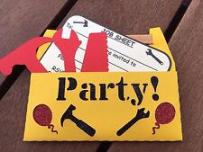 "12 pack ""TOOLBOX"" INVITATIONS KIDS CONSTRUCTION TRUCKS BIRTHDAY"