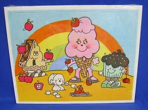 Vtg 1983 Avon Goody-Ville Scratch 'N Sniff Jigsaw Puzzle Desserts Rainbow 13 pcs