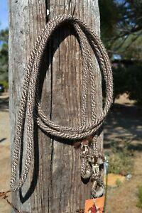 """3/8"""" Alpaca Hair Loop / Roping / Trail Reins 6 St x 10 ft-Mix of Brown/Tan/White"""