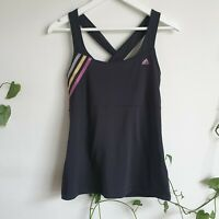 Adidas Black Gold Pink Stripe Logo Tank with Bra 12 M Cross-over Back Active Gym