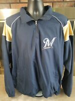 Vintage Milwaukee Brewers MLB Baseball Lined Pullover Jacket Coat Mens Size XL