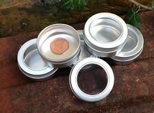 Round Metal Storage Tin with Window Lid 50ml *Camping Survival Stash Pot *NEW