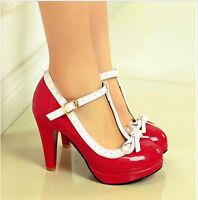 Mary Janes Vintage Womens T-Strap High Heels Bowtie Sweet Lolita Shoes Pumps SZ