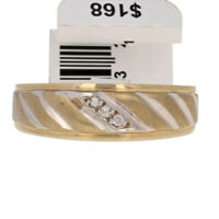 NEW Round Brilliant Cut Diamond-Accented Wedding Band 10k Yellow Gold Men's Ring