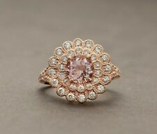 1Ct Round Cut Peach Morganite & Diamond Double Halo Ring in 14k Rose Gold Over