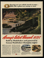 1944 WWII - U.S. Army - STUDEBAKER Weasel M-29c Amphibious Vehicle - VINTAGE AD