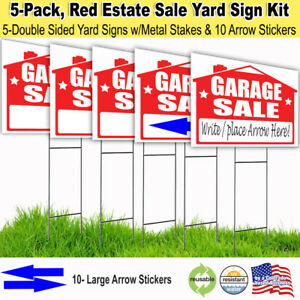5 Pack -GARAGE SALE Lawn Sign Kit