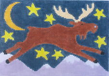 Flying Moose Hand Painted Needlepoint Canvas