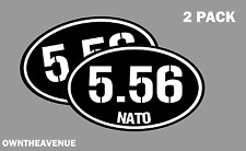 """5.56 Nato oval Ammo Can -2 PACK - 5""""x3"""" Oval 5.56 Vinyl Sticker Decal"""