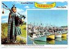 Yarmouth Nova Scotia Postcard Piper Tartan Boats Kilt Canada Unposted Vintage