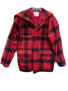 Vintage Johnson Buffalo Plaid Woolen Mills Jacket Size 40 Hunting Jacket