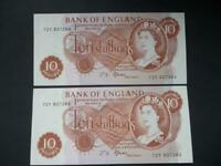 1967 PAIR OF FFORDE TEN SHILLING NOTES UNCIRCULATED CONDITION DUGGLEBY  B309