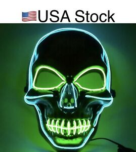 US!Halloween Scary Skull Mask LED Wire Light Up Mask Cool Cosplay Costume Party