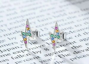 925 Stirling Silver Rainbow CZ Lightning Bolt Studs Other Bloggers...