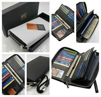 AG Wallets Women's RFID Blocking Cow Leather Zip Around Wallet Clutch Wristlet