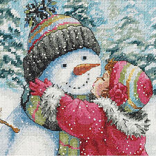 Cross Stitch Kit Gold Collection A Kiss for Snowman Little Winter Girl #70-08833