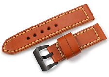 24mm Genuine Leather Double Layer Watch band PVD Black Buckle Strap For Panerai