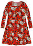Girls Xmas Print Long Sleeved Dress New Kids Santa Elf Party Dresses 3-13 Years